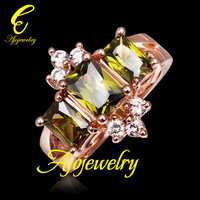 Size 8 Free Shipping Fashion Women Jewelry Gold Plated Green Zirconia Ring For Women