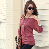 2014 spring clothes women's t-shirt female long-sleeve plus size loose top basic shirt