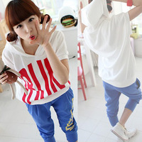 2014 summer fashion sweatshirt plus size clothing letter t-shirt short-sleeve capris casual sports set female