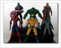 6PCS/Set  Marvel The Avengers Heros Hulk Captain America Iron Man Spiderman PVC Action Figures Classic Toys Free Shipping!