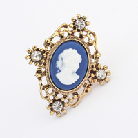 Promotion 2014 New Arrival vintage Europe Mrs.head portrait gold silver personality charms ring