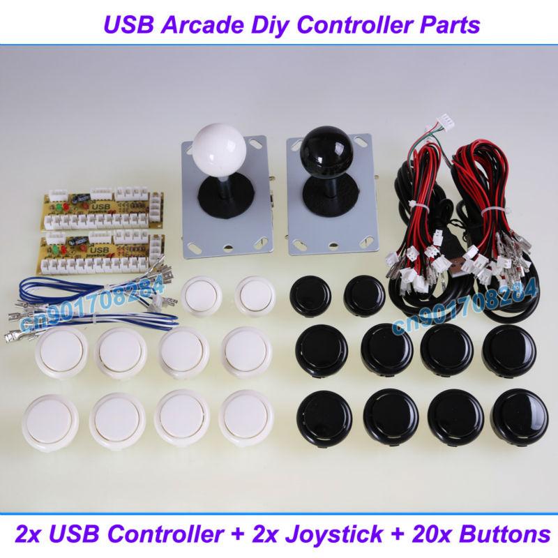 New Arcade DIY Accessorie 2x USB Encoder PC to joystick + 2x China Joystick + 20x China Push Button For Arcade MAME Games(China (Mainland))