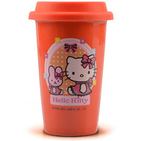 Free shipping 2014 Hot sale ceramic mugs Hello kitty Porcelain cup Women's office coffee cup Tea mug with lid 400ml RED