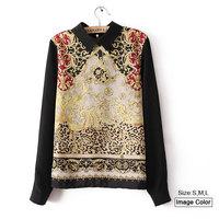 HZA001 Brand New Fashion Women Elegant Vintage Totem Print Pullover Shirts Long Sleeve Back Zipper Slim Chiffon Blouses Tops