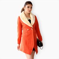 Free shipping Trophonema 2012 fur collar woolen outerwear female medium-long overcoat 805