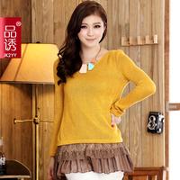 Free shipping 2014 2014 slim waist knitted top lace ruffle hem o-neck one-piece dress women's long-sleeve 500