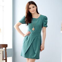 Free shipping 2014 new arrival spring and summer elegant slim ol plus size slim short-sleeve dress elegant medium skirt