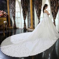 Love 2014 dream lace train wedding dress quality royal princess wedding dress
