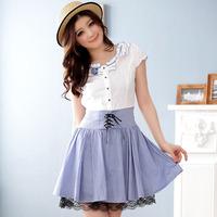 Free shipping Jk2 . pure student yy summer skirt color block decoration slim waist one-piece dress 3119