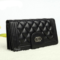 Small wallet first layer of cowhide plaid popper multi card holder long zipper design women's long design wallet day clutch