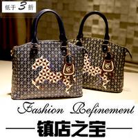 2014 women's handbag shoulder bag handbag bag exquisite check woven thread messenger bag