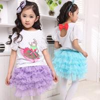 Female child 2014 spring t-shirt summer cotton short-sleeve 100% three-dimensional cartoon children's clothing child basic shirt