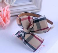 Free shipping wholesale 2014 newest British style plaid big bow bowknot hairbands for kids wide headband women girls headwear