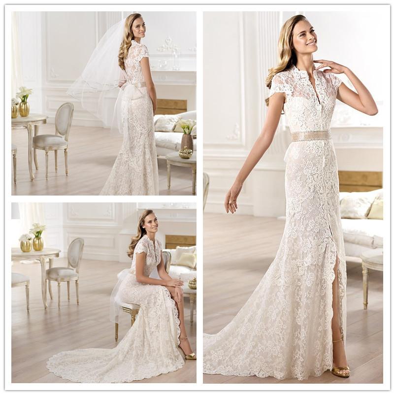 Wedding Dresses  Aliexpress : Wedding dress elegant beach sash lace short sleeves gowns