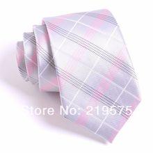 Mens 100% de seda rosa tecido liso laço 7 CM