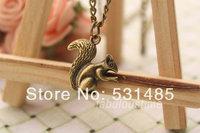 20pcs/lot squirrel necklace,retro bronze 3d lovely squirrel necklace
