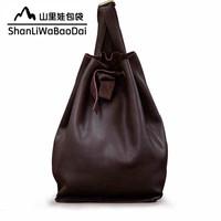 2014 fashion preppy style fashion  first layer of cowhide women's bucket bag handbag