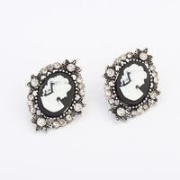 High quality Retro 3 colors gem Mrs.head portrait Stud Earrings women free shipping
