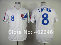 Wholesale baseball Montreal #8 Gary Carter M&N White jerseys,  please read size chart before order