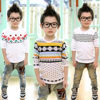 2014 small die spring children's clothing print baby male child long-sleeve T-shirt 7084 basic shirt