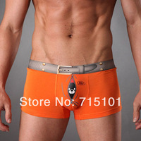 2 PCS New 2014 Brand Mens Underwear Boxer Shorts For Men Sexy Cute Bird Print Mens Panties 4 colors M L XL  XL XXXL