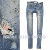 MISS COCO 2014 New Vintage Hot Luxurious Diamante Holes Skinny Denim Little Straight Jeans for Ladies Women Free Shipping