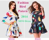New Arrival 2014 Dresses Fashion Bird Pattern Sexy 2014 Women Spring and Summer Dresses MINI Elegant Dress 2014 Free Shipping