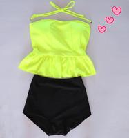 Tube top dress top vintage high waist female split swimwear hot spring swimsuit bikini
