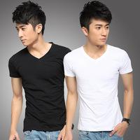 2014 Man Clothing T Shirt High-Elastic Cotton Men's Short Sleeve V Neck Tight Shirt Male T-Shirt  size M, L,XL,XXL