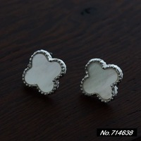 925 sterling silver jewelry vintage sterling silver onyx cute little four-leaf clover earrings Ms. New xh039749