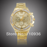 Hot-Sale Gold Plated women rhinestone watch,Women Dress Jewelry Watches,Free shipping