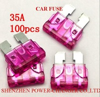 100pcs Middle 35A Automotive Car Blade Fuse  Motorcycle SUV Track Car Fuse