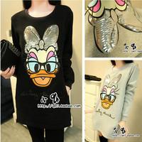 2014 Casual sweatshirt female thermal fleece o-neck sweatshirt long-sleeve donald duck plus size clothing WST04