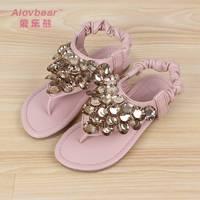 2014 female child slippers princess flip slippers female beaded beads child flip flops summer slippers