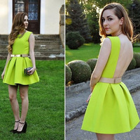Show Style 2014 New Women's Spring Summer Sexy Neon Green Backless Crew Neck Sleeveless Dresses Party Mini Short Dress Tops