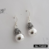 925 sterling silver jewelry in Thailand Thai silver retro style lady new fashion glossy small gourd earrings xh032386w