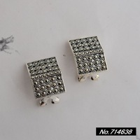 925 sterling silver jewelry inlaid vintage square Marcasite new book, Ms. Sterling Silver earrings xh039472