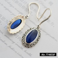 925 sterling silver jewelry vintage Thai silver blue corundum long paragraph form. Ms. New earrings xh038154