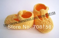 free shipping,yellow Soft Wool Knit Hand Woven  Warm Crochet Crib Shoes Sock 20pair