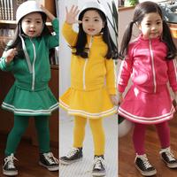 Female child clothing set 2014 spring sweet casual sports skirt suit princess long-sleeve piece set