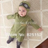 baby boy Aviator rompers kids bodysuits one-piece hoodies pilot Jumpsuits clothes sets cotton autumn spring wear romper + hat