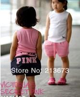 free shipping 2013 new design 90-130 5sets/lot kids' tshirt+short=set girl clothing set pink set baby girl summer suit