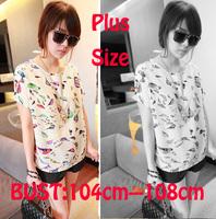 New 2014 chiffon shirt women shirt fashion bird Print blouse women chiffon blouses Short Sleeve blouses shirts Free shipping