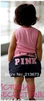 free shipping new design Retail kids' t-shirt+short girl clothing set pink set baby girl summer suit set