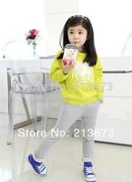 Retail 2014 new spring and autumn new Korean shirt+pants suit set children clothing girls cartoon cloth suit set