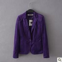 Free shipping 2014  women's velvet slim casual blazer suit plus size available