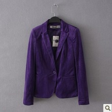 Free shipping 2014  women's velvet slim casual blazer suit plus size available(China (Mainland))