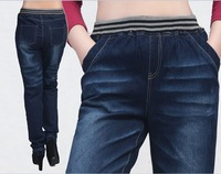 The new autumn and winter large size Slim thin washing wear white jeans pencil pants 2XL,XXXL,3XL,XXXXL,4XL free shipping