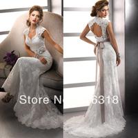Vestido De Noiva Casamento 2014 Open Back Lace Mermaid Wedding Dress Sexy 2014 Vintage Wedding Dress Robe De Mariage Bridal Gown