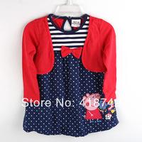 2-6Y kids clothes wholesale princess polka dot dress designs baby girls long sleeve peppa pig dresses